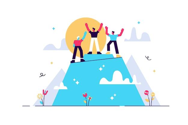 Succes behalen en topdoel vervulling teamwerk kleine personen concept.