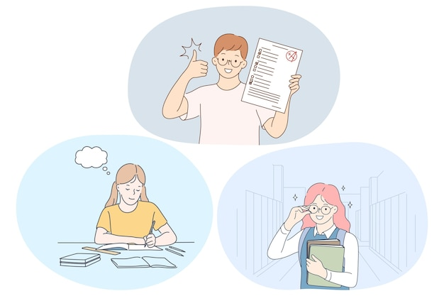 Succes bij het studeren, uitstekend schoolleerlingenconcept.