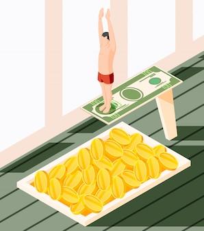 Succes concept isometrische illustratie met afbeeldingen van zwembad gevuld met munten en man op duiktoren