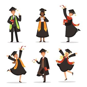 Succes en gelukkige studenten. afstuderen in verschillende landen. vector tekens. afstudeerders educati
