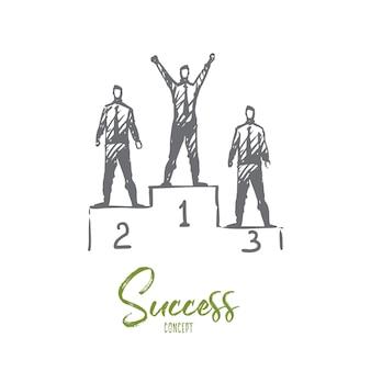 Succes illustratie in de hand getekend
