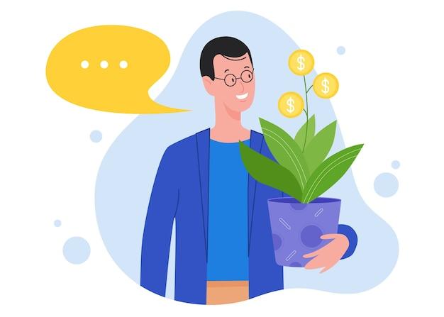 Succes investeringen concept. man investeerder met geld munt plant pot, investeert in project