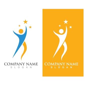 Succes mensen ster logo vector afbeelding