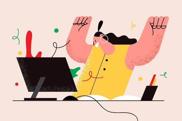 Succes op het werk, online winnen