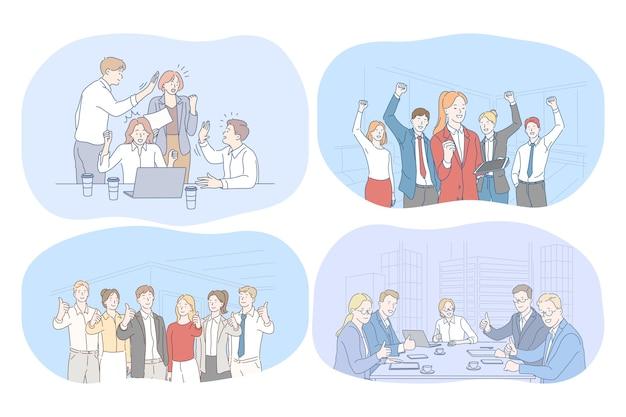 Succes, overeenkomst, zaken, onderhandelingen, teamwerkconcept. gelukkige jonge zakenmensen partners