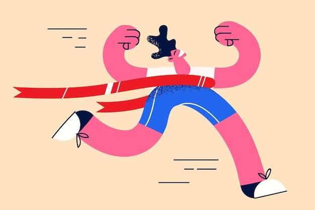Succes, prestatie en leiderschap concept. jonge, gelukkig lachende man atleet die finishlijn overschrijdt, voelt zich eerst zelfverzekerd en opgewonden vectorillustratie