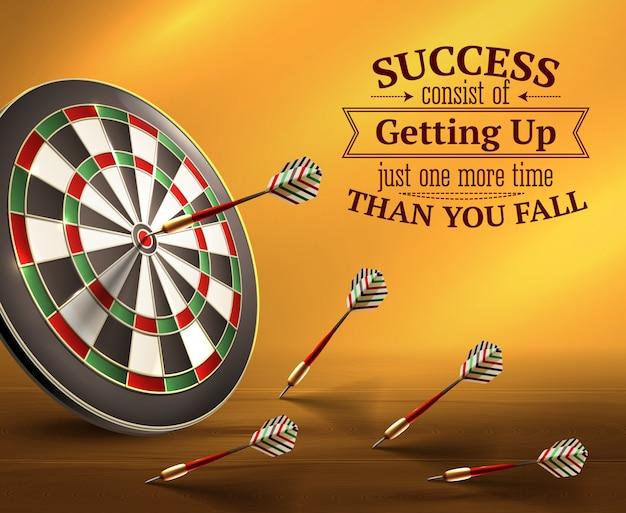 Succes slimme citaten met ups en downs symbolen realistische illustratie
