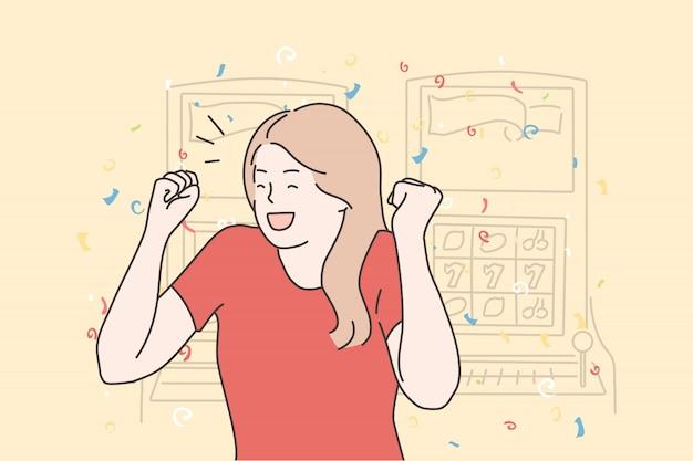 Succes, spel, winnen, overwinning, casino, gokken, jackpot concept