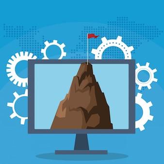 Succes start bedrijf computer berg met vlag versnellingen