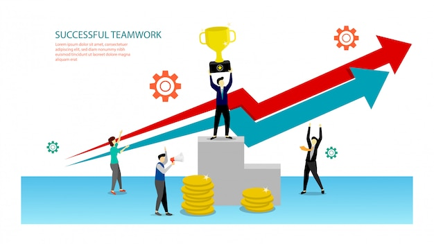 Succes teamwerk concept illustratie