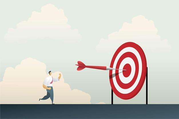 Succes van zakendoen volgens doelen zakenman die zijn hand gelukkig opsteekt