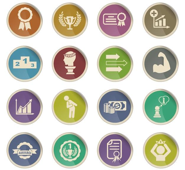 Succes webpictogrammen in de vorm van ronde papieren etiketten