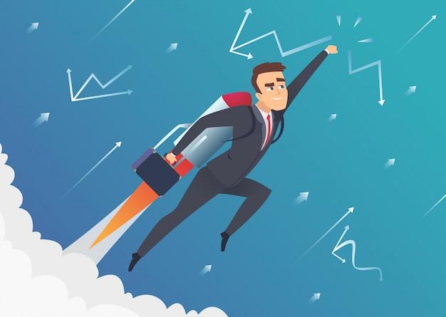 Succes zaken. de zakenman gaat naar de maan die op de verbetering van de startsnelheidraket vliegen lanceren concept