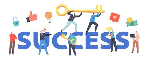 Succesconcept. zakelijke karakters team klimmen met enorme gouden sleutel ondernemers teamwork en leiderschap, investeringsgroei poster, banner of flyer. cartoon mensen vectorillustratie