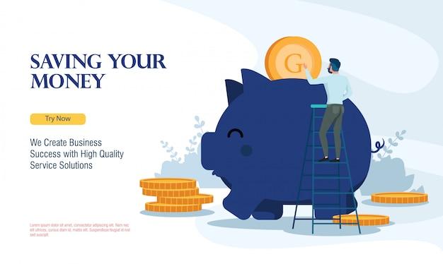 Succesvol bedrijf geld besparen met platte ontwerpconcept