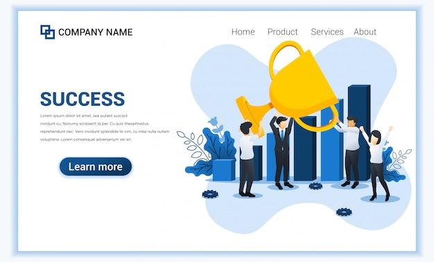 Succesvol bedrijf . mensen die succes vieren met de trofee van de greep reuze gouden winnaarkop