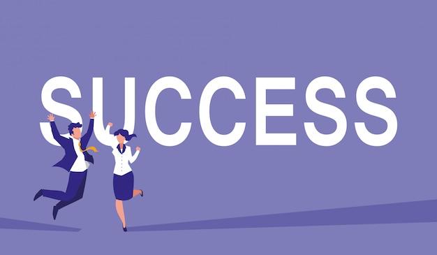 Succesvol bedrijfspaar vieren karakters