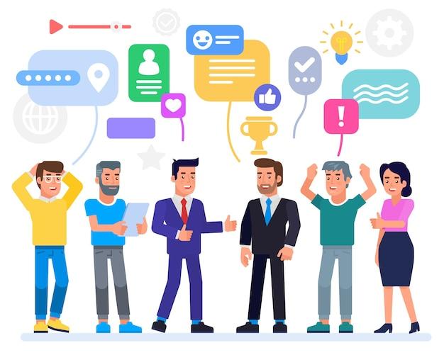 Succesvol business team met trofee pictogram