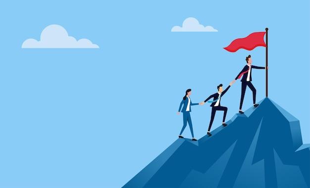 Succesvol commercieel team. mensen uit het bedrijfsleven klimmen naar de top van de berg.