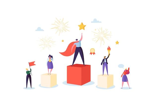 Succesvol commercieel team op het podium. teamwork leiderschap concept. manager met winnende trofee. leider man en vrouw vieren overwinning.