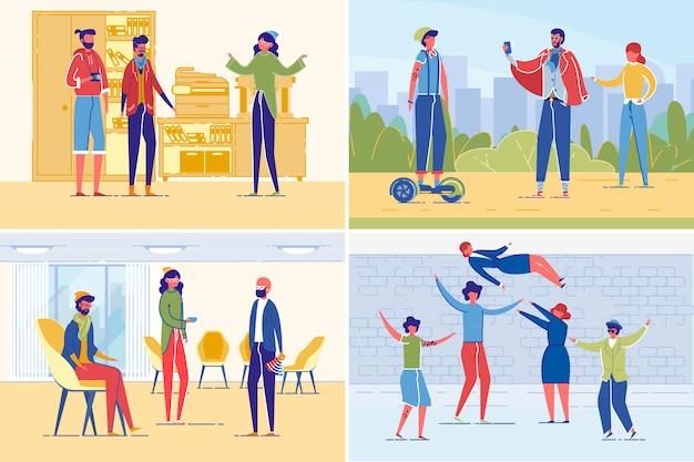Succesvol creatief mensenteam die illustratie samenwerken die in vlakke stijl wordt geplaatst