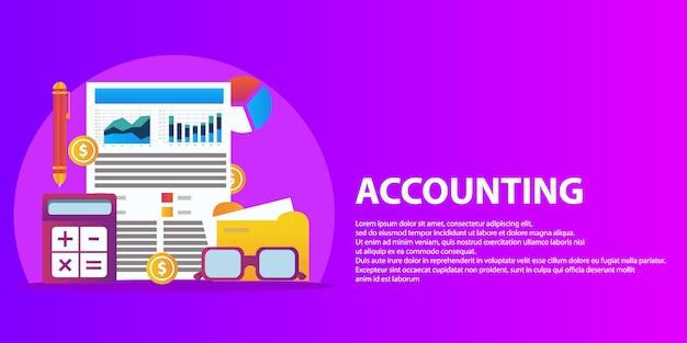 Succesvol financieel businessplanrapport en de banner van het boekhoudingsconcept.