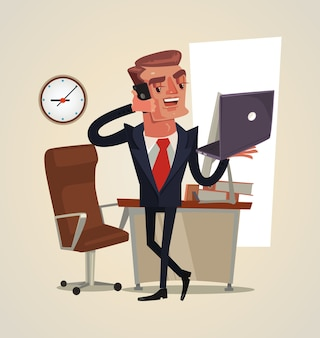 Succesvol glimlachend gelukkig zakenmankarakter die op telefoonillustratie spreken