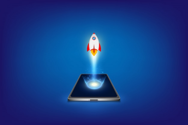 Succesvol startup bedrijfsconcept. project ontwikkeling. raketlancering vanaf smartphone.