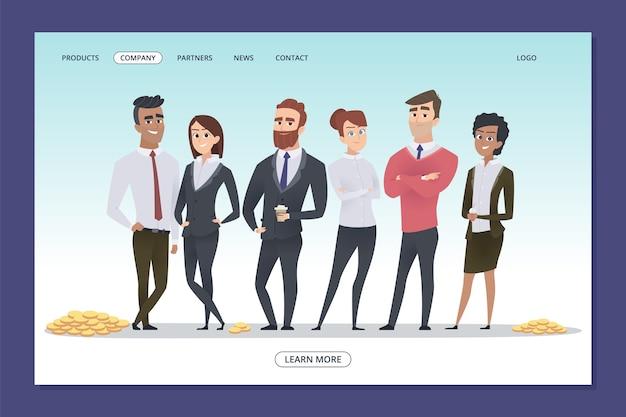 Succesvol zakelijk team. teamwork webpagina sjabloon. ondernemers en munten vector illustratie. zakelijke team, investering in teamwerk