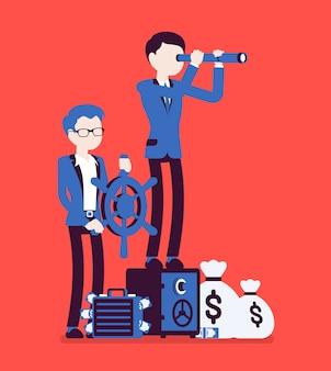 Succesvol zakelijk zicht. team kijkt uit naar een nieuwe horizon om investeringen en ontwikkeling te bereiken, observeer met kijkende potentiële klanten en markt. illustratie met gezichtsloze karakters