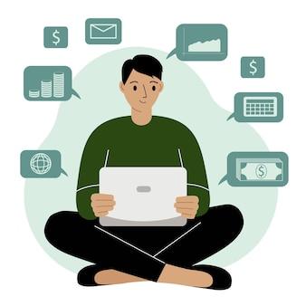 Succesvol zakendoen op internet, een man die op afstand thuis werkt op een laptopcomputer en geld verdient. internettechnologieën voor financieel welzijn, gegevensanalyse. platte vectorillustratie