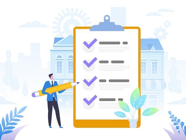 Succesvolle afronding van zakelijke taken. positieve zakenman met een gigantisch potlood op zijn schouder in de buurt gemarkeerde checklist op een klembordpapier. vlak