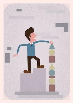 Succesvolle bedrijfsmens bouwstijlpyramide strategieconcept