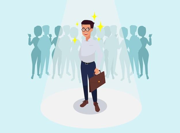 Succesvolle bedrijfsmens, die de illustratie van zakencollega's gelukwensen