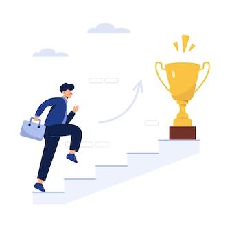 Succesvolle bedrijfsmens met een trofee