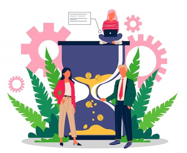 Succesvolle bedrijfsmensen die de werktijd effectief beheren
