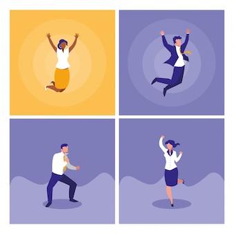 Succesvolle bedrijfsmensen die karakters vieren