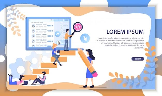 Succesvolle business team flat vector website