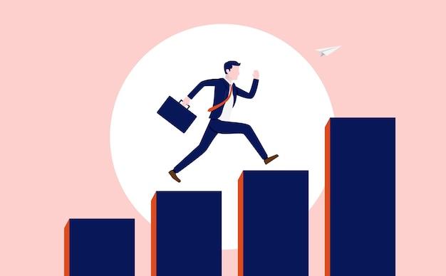 Succesvolle carrière voor zakenman met stijgende grafiek