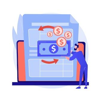 Succesvolle financiële operatie. zakelijke boekhouding, factuurrapport. gelukkige mensen met belastingbewijs. belasting betalen, geld sparen, contant inkomen. vector geïsoleerde concept metafoor illustratie