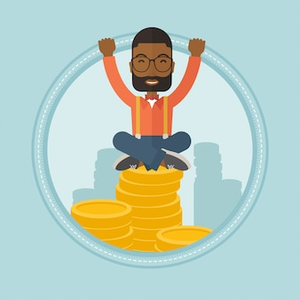 Succesvolle financier zittend op gouden munten