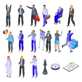 Succesvolle geplaatste zakenmanpictogrammen. isometrische reeks succesvolle zakenmanpictogrammen voor web dat op witte achtergrond wordt geïsoleerd
