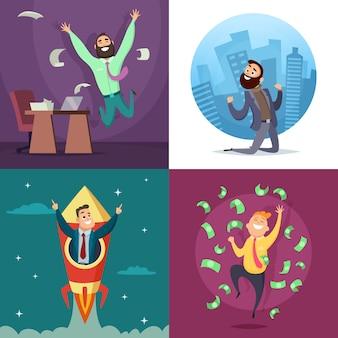 Succesvolle grappige en gelukkige zakenlieden in actieve poses.