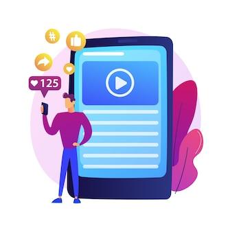 Succesvolle internetmarketing. gegevens, applicaties, e-services, multimedia. sociaal netwerk likes en volgers attractie kleurrijk pictogram.