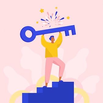 Succesvolle man met een grote sleutel om nieuwe oplossingen te openen. concept vlakke afbeelding.