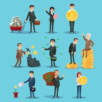 Succesvolle mensen die handelen met bitcoin