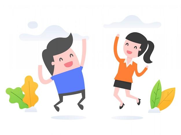 Succesvolle mensen springen en glimlachen.