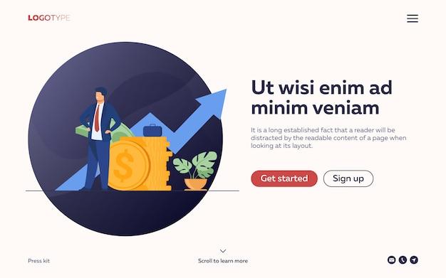 Succesvolle ondernemer of investeerder die stapel geld voorstelt
