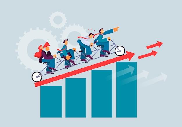 Succesvolle ondernemers in het zakelijke activiteitsteam.