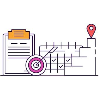 Succesvolle planning en ontwikkeling van bedrijfsstrategieën voor het bereiken van doelen, strategisch en tijdbeheer. klembord met dartbord, dagelijkse kalender, carrièretrap platte vectorlijnpictogram